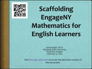 Scaffolding  EngageNY  Mathematics for English Learners