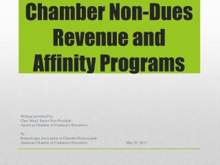 Chamber Non-Dues Revenue and Affinity Programs