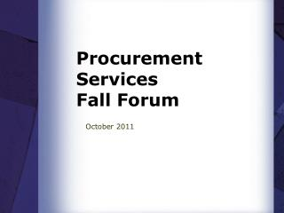 Procurement Services Fall Forum