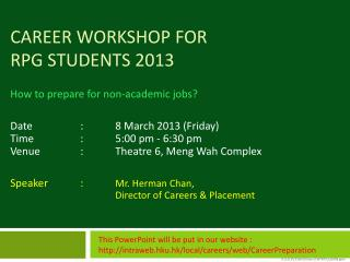 Career Workshop for  RPg students 2013