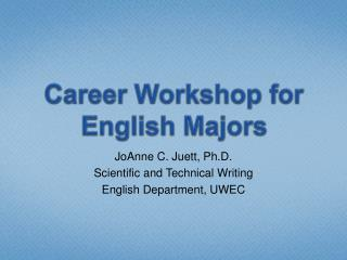 Career Workshop for English Majors