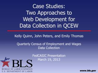 Case Studies: Two Approaches to  Web Development for  Data Collection in QCEW