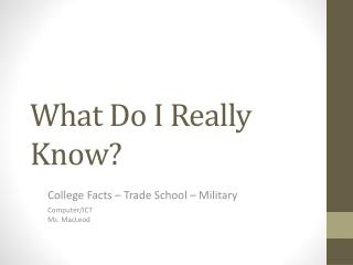 What Do I Really Know?