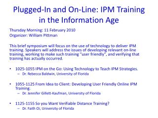 Plugged-In and On-Line: IPM Training in the Information Age