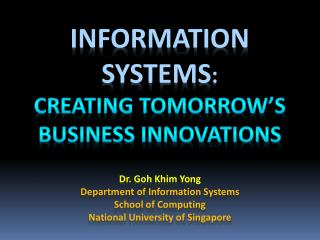 Information systems : creating tomorrow's business innovations