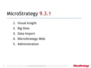 MicroStrategy  9.3.1