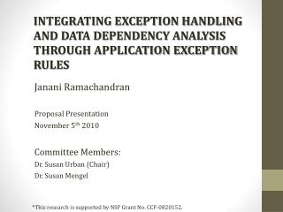 INTEGRATING EXCEPTION HANDLING AND DATA DEPENDENCY ANALYSIS THROUGH APPLICATION EXCEPTION RULES