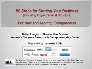 50 Steps for Starting Your Business (including Organizational Structure) For  New and Aspiring Entrepreneurs
