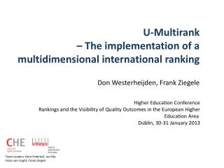 U-Multirank  – The implementation of a multidimensional international ranking