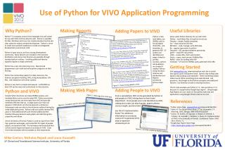 Use of Python for VIVO Application Programming