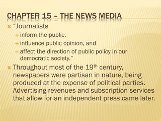 Chapter 15 � The News Media