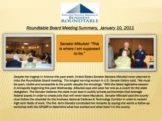 Roundtable Board Meeting Summary,  January 10, 2011