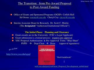 The Transition:  from Pre-Award Proposal  to Post-Award Funding