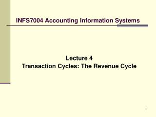 INFS7004 Accounting Information Systems