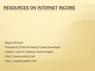 Resources on Internet Income