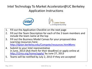 Intel Technology To Market  Accelerator@UC  Berkeley Application Instructions