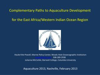 Complementary Paths to Aquaculture Development for the East Africa/Western Indian Ocean Region
