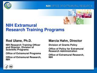 NIH Extramural  Research Training Programs