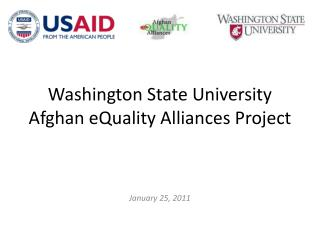 Washington State University  Afghan eQuality Alliances  Project