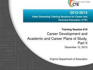 2013-2014  Video Streaming Training Sessions for Career and  Technical Education (CTE)  Training Session #10 Career Dev