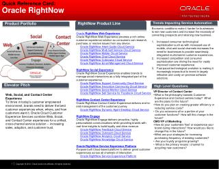 Quick Reference Card:  Oracle RightNow