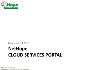 NetHope CLOUD  services Portal