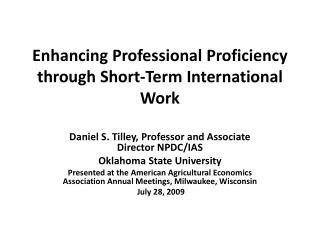 Enhancing Professional Proficiency through  Short-Term  International Work