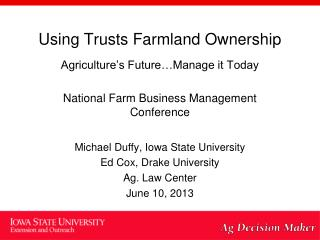 Using  Trusts Farmland Ownership