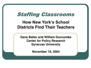 Staffing Classrooms