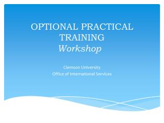 OPTIONAL PRACTICAL TRAINING Workshop