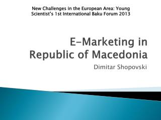 E-Marketing in  Republic of Macedonia
