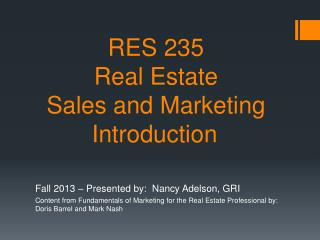 RES 235  Real Estate  Sales  and Marketing  Introduction