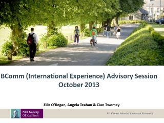 BComm (International Experience) Advisory Session  October 2013
