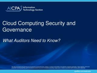 Cloud Computing Security and  Governance