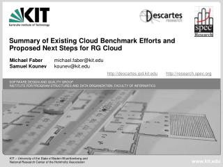 Summary  of Existing Cloud  Benchmark  Efforts and Proposed  Next  Steps for  RG  Cloud