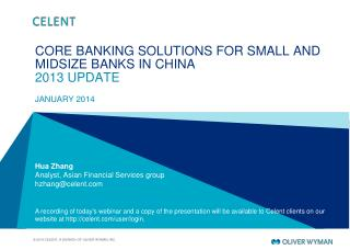 CORE BANKING SOLUTIONS FOR SMALL AND MIDSIZE BANKS IN CHINA 2013 UPDATE