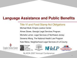 Language Assistance and Public Benefits