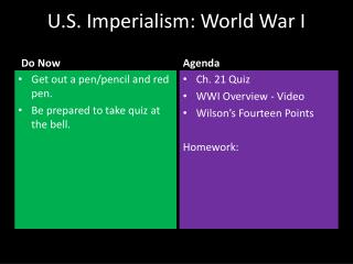 U.S. Imperialism: World  War I