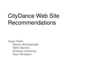 CityDance Web Site Recommendations