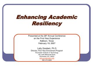Enhancing Academic Resiliency