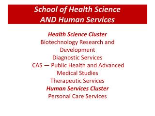 School of Health Science AND Human Services