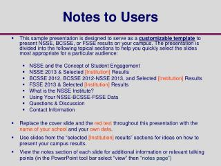 Notes to Users