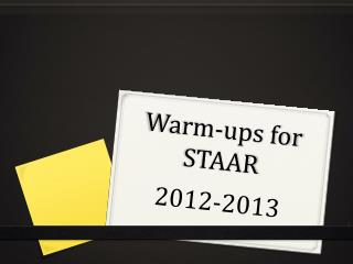 Warm-ups for STAAR