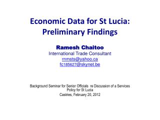 Economic Data for St Lucia: Preliminary Findings