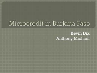 Microcredit in Burkina Faso