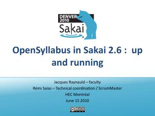 OpenSyllabus  in Sakai 2.6 :  up and running