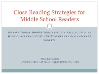 Close Reading Strategies for Middle School Readers
