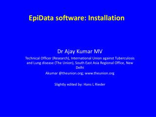 EpiData software:  Installation