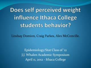 Does self perceived weight influence Ithaca College  students behavior?