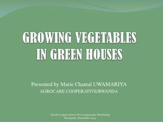 GROWING VEGETABLES  IN GREEN HOUSES